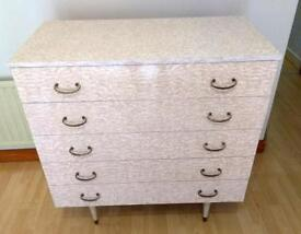 1960s melamine chest of drawers and wardrobe
