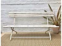 Vintage Antique White Folding Garden Bench