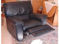 LEATHER MANUAL RECLINER CHAIR DARK BLUE