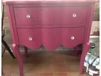 French style, Mulberry coloured, high Laquered Dressing Table with 2 full length draws.