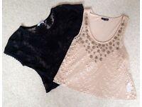 New Look Embriodered Blk crop top & Topshop Beaded Nude coloured vest top size 10
