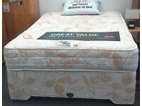Double Divan Bed wih Mattress. No Headboard. British Heart Foundation