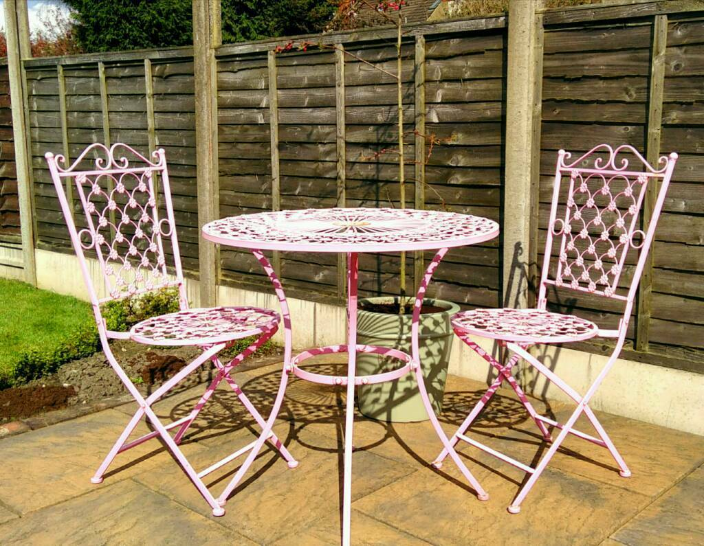 Pastel Pink Bistro Set Of Table And Two Folding Patio Chairs