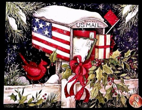 SUSAN WINGET Cardinals Mailbox Holly Patriotic *GLITTERED* Christmas Card UNUSED