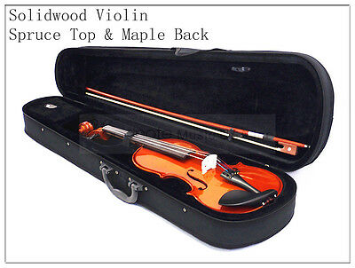 4/4 Solid Maple Wood Violin/Bow/Rosin/Case/Extra 4/4 German Silver String Set