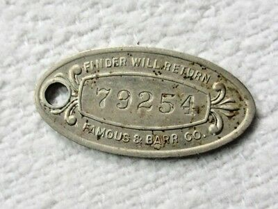 FAMOUS BARR ST. LOUIS MO DEPARTMENT STORE CHARGE COIN  ~  FOB KEY CHAIN TOKEN