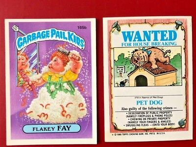 1986 TOPPS GARBAGE PAIL KIDS # 165b FLAKEY FAY No Front Copy Variation