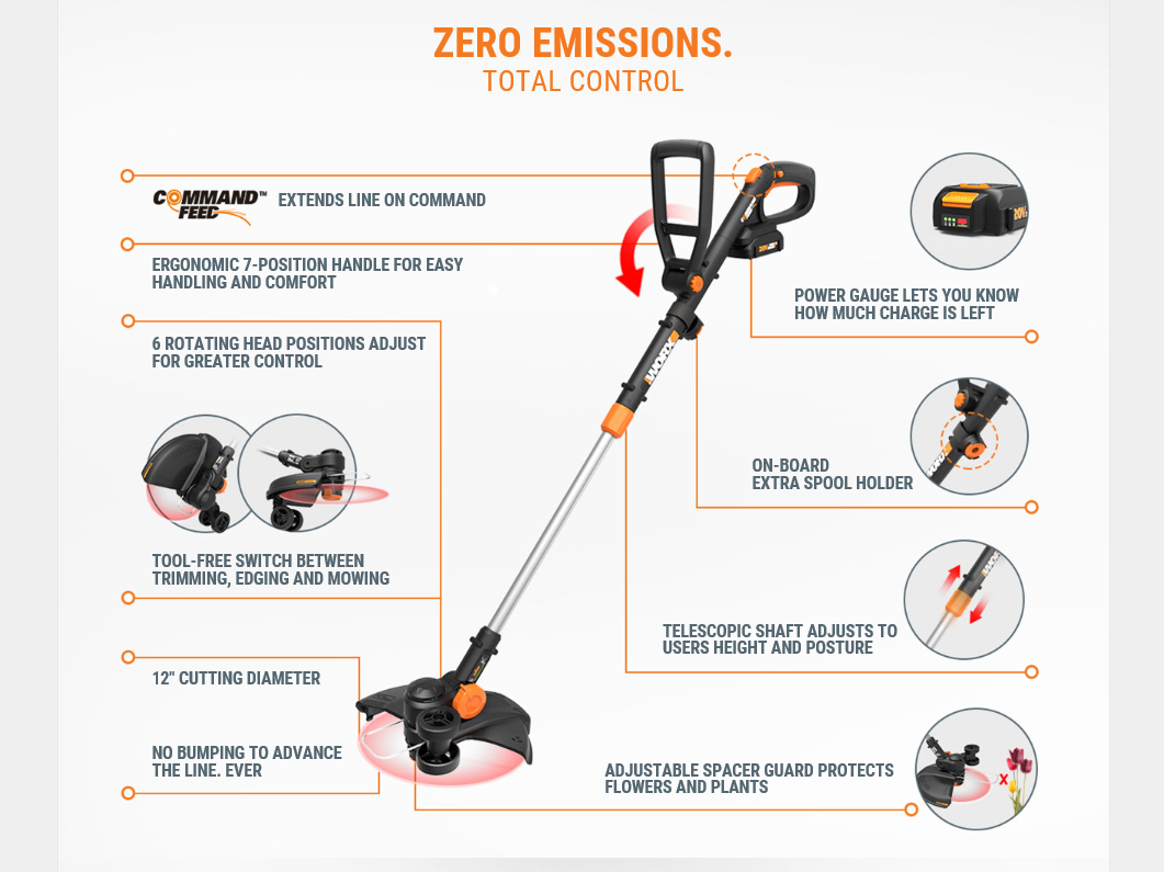 WORX WG170 GT Revolution 20V PowerShare Cordless Electric String Trimmer/Edger