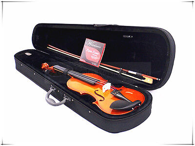 New 4/4 Student Violin+Bow+Rosin+Case+Free German Silver String Set-Limited