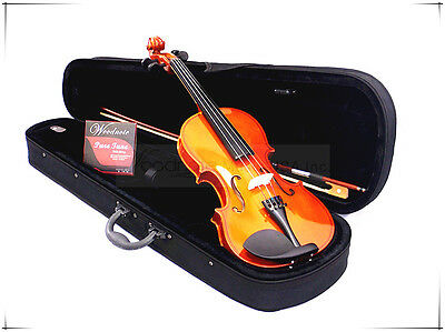 New Student 1/2 Violin Fiddle/Bow/Rosin/Case/Free Extra German Silver String Set