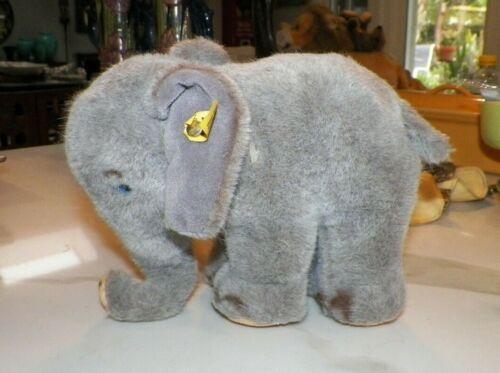 "VINTAGE STEIFF ELEPHANT STUFFED ANIMAL PLUSH 8"" LONG"