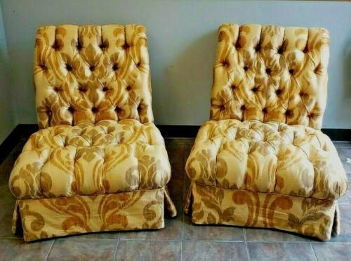 Rare Pair Dorothy Draper Style Silk Hollywood Regency Rolled Back Slipper Chairs