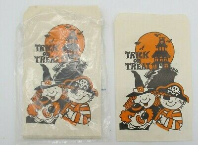 Halloween Paper Candy Bags (Vtg bag of 16 Halloween Trick or Treat Paper Goodie Candy Bags Party)