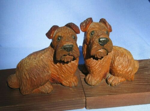 SEALYHAM CESKY TERRIER ANRI WOOD BOOKENDS GERMANY DOG