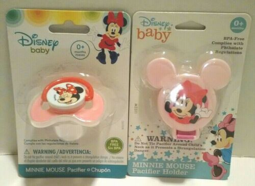 Disney Baby Minnie Mouse Baby Girl Pacifier & Holder With Cover BPA Free Pink