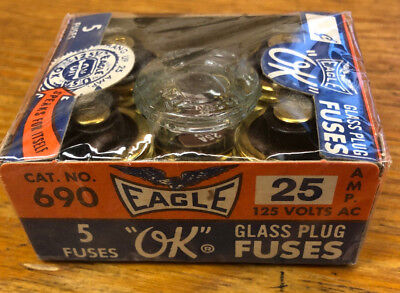 Eagle 690-25 5 Pack Of Glass Plug Fuses 25 Amp