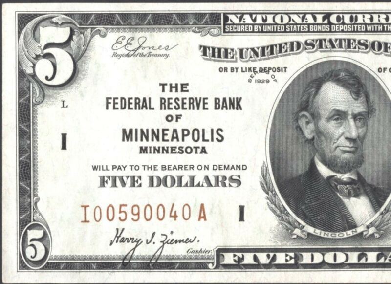 FR. 1850 I $5 1929 Federal Reserve Bank of Minneapolis Rare Choice Very Fine