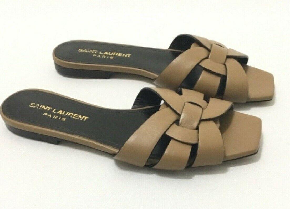 Saint Laurent Beige Leather Tribute Flat Sandals Shoes Sz 35
