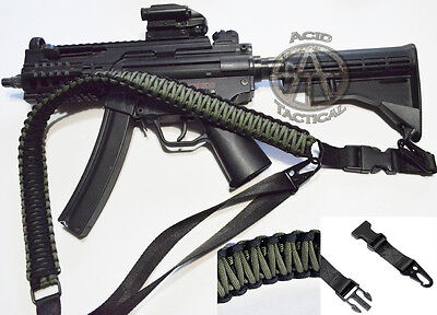 """60"""" Tactical Paracord Gun Rifle Sling traditional 1 or 2 Point (Green/Black)"""