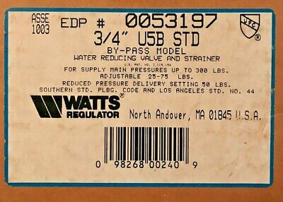 Watts 34 U5b Std Water Pressure Reducing Valve Range 25-75 Psi Set 50 Psi -new