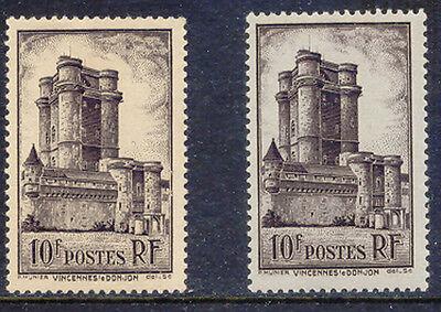 FRANKREICH 1938 10 Fr. Festungsturm Vincennes schwarzbraun postfrischer ABART!!!
