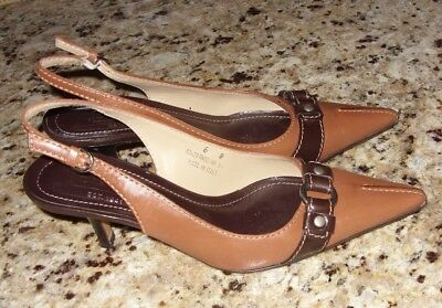 COACH Ladies Angelina Brown Leather Pointy Toe Slingback Heels shoes Size 6 B (Angelina Heels)