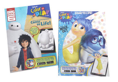 Disney Pixar Inside Out & Big Hero 6 Kids Coloring Book Activity Books Set of 2