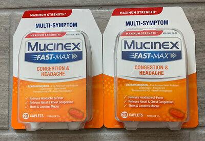 2 Pack - MUCINEX FAST MAX CONGESTION & HEADACHE 20 Caplets - EXP: 05/2021
