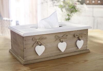 Tissue Box White Heart, Kosmetiktücher, Taschentuchbox, Holz, Abschminktücher