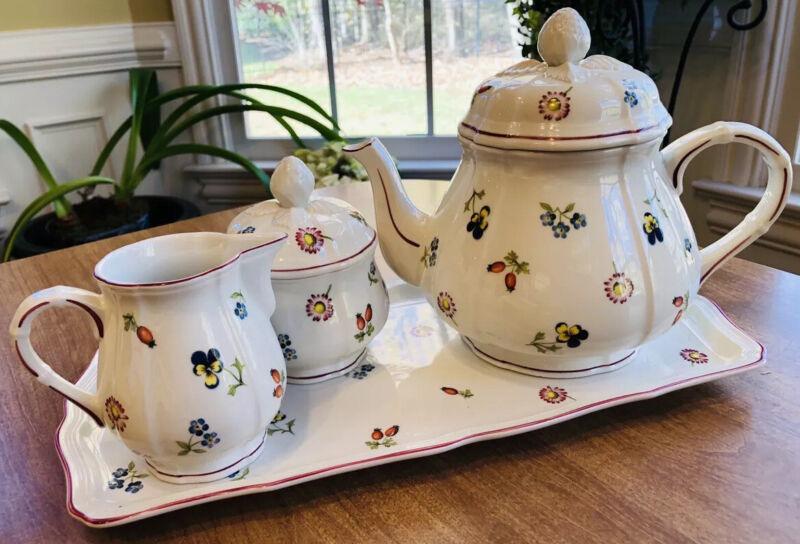 VIlleroy & Boch *PETITE FLEUR* Teapot (6-pc) Cream Sugar & Tray Exquisite MINT