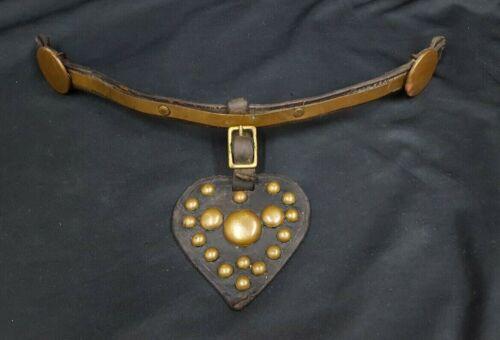 Vintage Brass & Leather Heart Shaped Horse Dressage