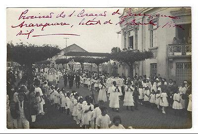 Religious Procession ARARAQUARA / SAO PAULO. 1920/30s Old Real Photo BRAZIL