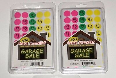 400 Neon Color Self Adhesive Garage Sale Price Stickers 2pks 800 Stickers