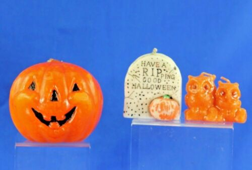 GROUP OF 3 VINTAGE HALLOWEEN CANDLES TOMBSTONE OWL JACK O LANTERN