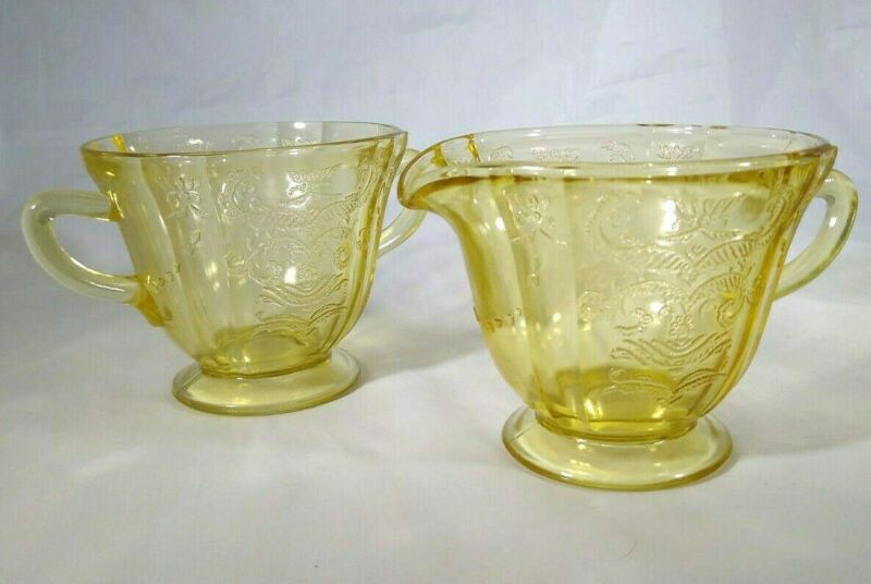 Vintage Amber Federal Glass Open Madrid Footed Sugar and Creamer Set