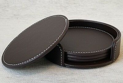 "Round Drink Coasters 4"" Cup Mat Pads Set of 4 New in Holder for Home or Office"