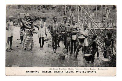 Kids Sierra Collection (SIERRA LEONE, AFRICA ~ GROUP OF NATIVE MEN & CHILDREN WATER CARRIERS c. 1904-14)