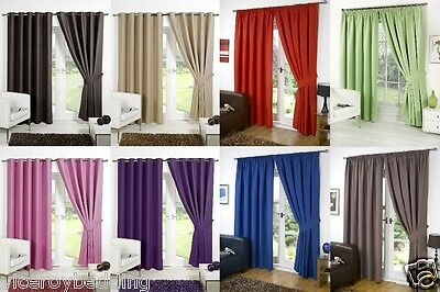THERMAL BLACKOUT CURTAINS Eyelet Ring Top OR Pencil Pleat FREE Tie backs