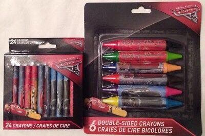 Disney Pixar Cars 24 Crayons & 6 Double-Sided Crayons, (Double Sided Crayons)