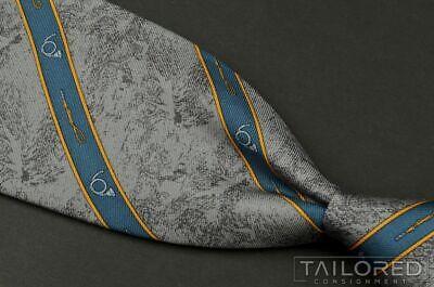 "NWT - GUCCI Vintage VTG Gray Novelty Trombone Stripe Silk Luxury Tie - 3.25"""