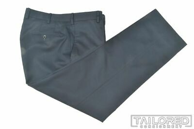 INCOTEX Solid Blue Cotton Mens Luxury Pants Trousers - 34