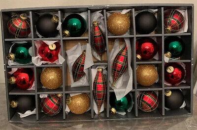 Martha Stewart Set Of Plaid Tartan Red Black Gold Green Glitter Glass Ornaments
