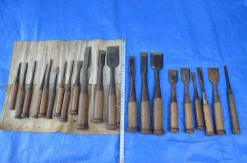 Japanese Chisel Nomi Carpenter Tool Set of 21 Woodworking Hand Tool