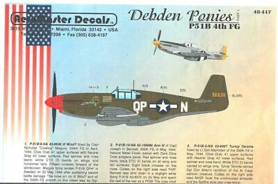 1:48 Debden Ponies P-51B 4th FG Part 1 AeroMaster Model Decal Set 48-417