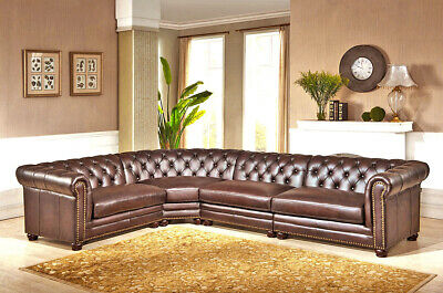 Best NEW Chesterfield Top Grain Mocha Brown Leather 4 Section Sofa RH