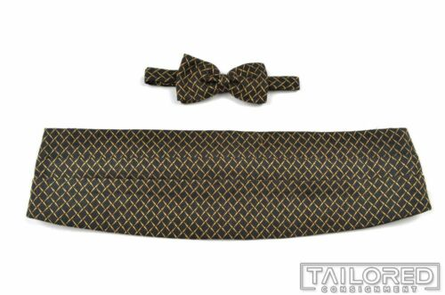 ERMENEGILDO ZEGNA Black Gold Silk Wool Luxury Cummerbund Bowtie Set