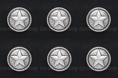 """Set of 6 ANTIQUE SILVER ROUND ROPE EDGE STAR SADDLE CONCHOS 1"""" screw back"""
