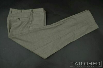 INCOTEX Gray Houndstooth Wool FLAT FRONT Luxury Pants Trousers - EU 48 / US 30
