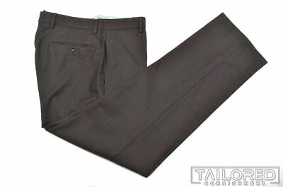 INCOTEX Brown Micro Striped 100% Wool Mens FLAT FRONT Luxury Pants Trousers - 32