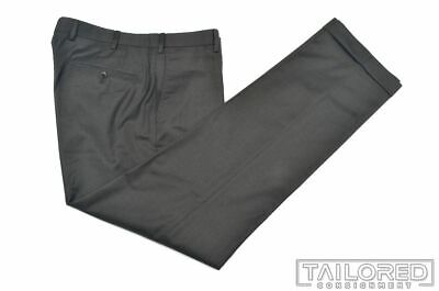 INCOTEX Solid Gray Super 100 Wool Mens FLAT FRONT Luxury Pants Trousers - 34